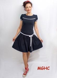 Kleid Marie  Sommerkleid im Marinestyle aus Baumwolljersey in Gr. XS-XL bestellen