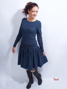 Kleid Marie langarm marine/blau im Polkadot Style aus Baumwolljersey in Gr. XS-LX  bestellen