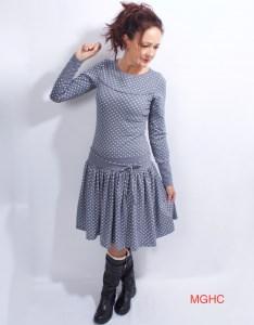 Kleid Marie langarm grau im Polkadot Style aus Baumwolljersey in Gr. XS-XL  bestellen