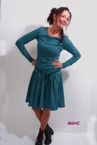 Kleid Marie langarm petrol im stilisierten Blüten Style aus Baumwolljersey in Gr. XS-XL  bestellen