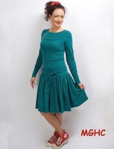 Kleid Marie langarm petrol im Polkadot Style aus Baumwolljersey in Gr. XS-XL  bestellen