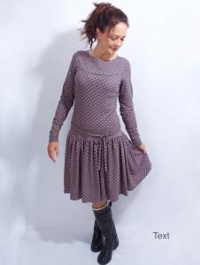 Kleid Marie langarm grau coralle im Polkadot Style aus Baumwolljersey in Gr. XS-XL  bestellen
