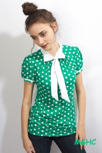 Shirt PAN 03 zuckersüsses  Schluppen Blusenshirt im Punktestyle aus Viscose Jersey in Gr. XS-XL bestellen