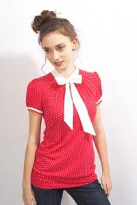 Shirt PAN 07 in pink zuckersüsse  Schluppen Blusenshirt im Punktestyle aus Viscose Jersey in Gr. XS-XL bestellen♥︎