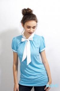 Shirt PAN 05 in hellblau zuckersüsse  Schluppen Blusenshirt im Punktestyle aus Viscose Jersey in Gr. XS-XL bestellen♥︎
