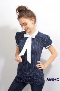 Shirt PAN 04 in marine zuckersüsse  Schluppen Blusenshirt im Punktestyle aus Viscose Jersey in Gr. XS-XL bestellen♥︎