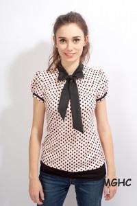 Shirt PAN 10 in rose schwarze Punkte zuckersüsse  Schluppen Blusenshirt im Punktestyle aus Viscose Jersey in Gr. XS-XL bestellen♥︎