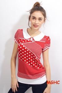 Shirt Honey Mustermix rote Punkte liebevoll handgefertigt aus hochwertigem Viskose Jersey in Gr. XS-XL bestellen