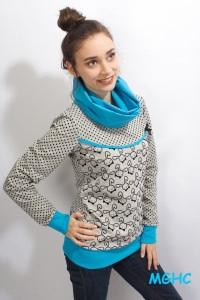 ♥︎Pulli COCO  Rabbit grau türkis  Gr. 36 liebevoll von Hand genäht Damen Hoodie ♥︎