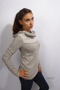 ♥︎Kapuzenshirt JO 10 im Tupfen und Blumen Style  liebevoll von Hand genäht aus hochwertiger Baumwolle grau Grösse XS/S/M/L/XL bestellen ♥︎
