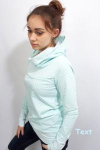 ♥︎Kapuzenshirt JO 11 im Tupfen Streifen Style  liebevoll von Hand genäht aus hochwertiger Baumwolle mint Grösse XS/S/M/L/XL bestellen ♥︎