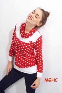 Shirt Reni Dot 07 rot liebevoll von Hand genäht aus Viskose Jersey im Punkte Dessin  Gr. XS-XL bestellen♥︎