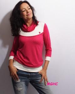 Shirt Reni Dot  03 pink liebevoll von Hand genäht aus Viskose Jersey im Punkte Dessin  Gr. XS-XL bestellen♥︎