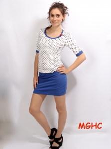 Kleid LEXI Mariechen Minikleid handgenäht aus Baumwolljersey in creme blaue Punkte Gr. XS-XL kaufen