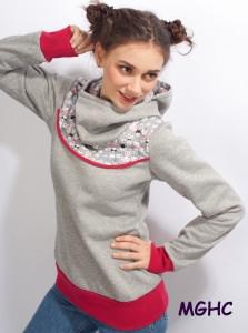 Hoodie Pygmy Kätzchen grau Gr. 36 (S) Pulli Sweater Damen