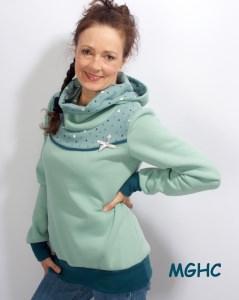 Hoodie Pygmy Ecken petrol mint Gr.40 (L)  Winterpulli Sweater Damen  kaufen