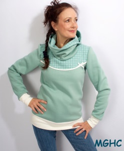 Hoodie Pygmy Blumen mint Gr. 34-42 Winterpulli  Sweater Damen in Gr. S-XL kaufen