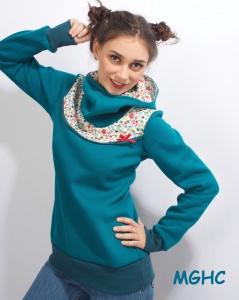 Hoodie Pygmy Pilze türkis  Gr.34-42 handgenäht Winterpulli Sweater Damen in Gr. S-XL kaufen