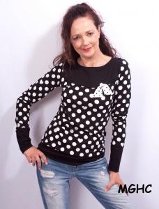 Longsleeve  MIMI Punkte schwarz liebevoll von Hand genäht aus hochwertigen Baumwolljersey Damen Gr. XS-XL kaufen
