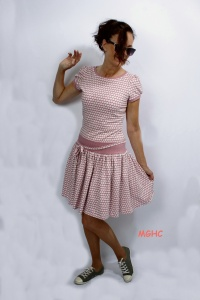 Kleid Marie  Gr. 34-42 altrosa traumhaftes Sommerkleid im Blumenmuster aus Baumwolljersey