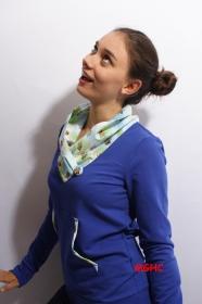 Einzelstück Sweatpulli Bienchen Gr. 36 blau mit Schalkragen, Sweatshirt