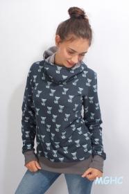 Hoodie Fox Glitter Pulli jeansblau Gr. 34 bis 42 Pulli, Kapuzenpulli, Winterpulli, bedruckt Fuchs