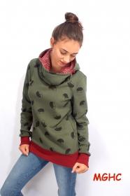 Hoodie Pygmy Igel grün Damen Gr. 34 bis 42, Damen, Winterpulli, Alpenfleece,