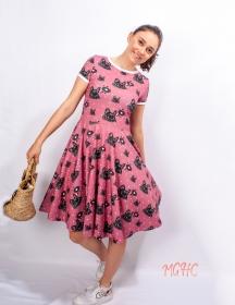 Kleid Lucy Mops Sommerkleid Tellerkleid Rockabilly Knielanges Kleid Damenkleid swing Tanzkleid Hundemotiv
