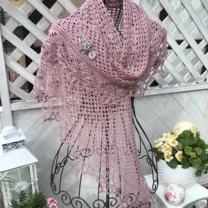Lacetuch *VERONA* gehäkeltes Schultertuch in pudrigem rosa