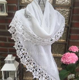 Lacetuch *SOPHIE* gestrickt/gehäkeltes Schultertuch in weiß Baumwolle