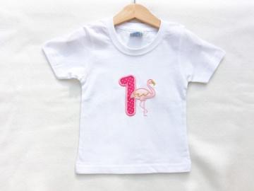 Geburtstagsshirt Flamingo mit Wunschname & Wunschzahl - Farben nach Wunsch