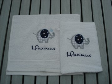 Kinder Waschlappen und Handtuch mit Motiv & Namen