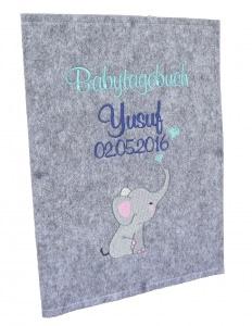 Babytagebuch zur Geburt Personalisiert mit Name - Filz Taufgeschenk Babyalbum 3