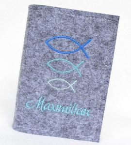 Gotteslob Hülle - Fische Blau- Kommunion - Filz