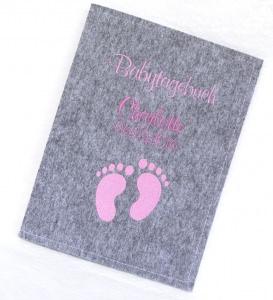 Babytagebuch zur Geburt Personalisiert mit Name - Filz Taufgeschenk Babyalbum