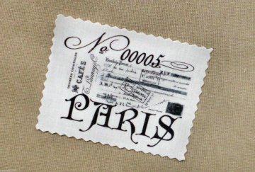 French Paris Label Nostalgie Vintage Stoffbild Applikation - 137