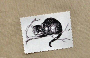 Alice Grinsekatze Vintage Stoffbild Applikation Aufnäher - 150