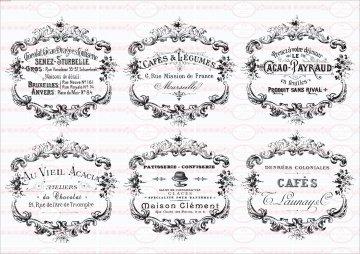 Bügelbild Shabby Kakao Kaffee french Paris Cafe Chic Antik 1546 A4
