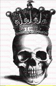 Bügelbild Vintage Totenkopf Krone Crown Bügelbilder DIN A4 NO.1227