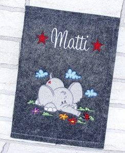 U-Hefthülle - Ele Elefant - Umschlag Untersuchungsheft Hülle U-Heft Filz