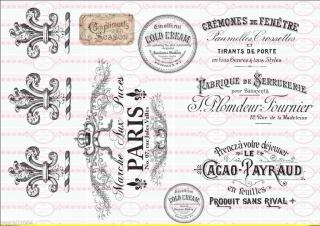 Shabby Vintage Bügelbild Schriften french antik Paris Set NO. 336