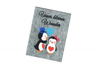 Bestickte Mutterpass Hülle ♥ Pinguin Liebe ♥ Filz