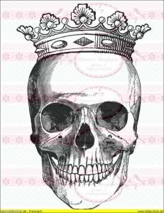 Vintage Bügelbild Totenkopf Krone Crown NO. 463