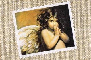Label ♥ Shabby Engel Kind ♥ Vintage Applikation Stoffbild - 202
