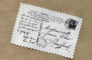 Paris Postkarte Label Applikation Stoffbild Vintage Nostalgie Aufnäher