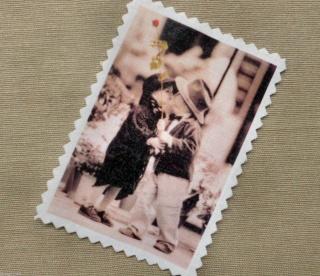 First Kiss Kinder Applikation Stoffbild Aufnäher Vintage Nostalgie Aufnäher