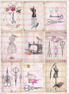 9 Shabby Vintage Bügelbilder Nähen Scheren Nostalgie Rosen NO. 582