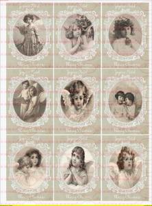 Bügelbild Weihnachten Kinder Winter Engel Nostalgie Chic Shabby Vintage 1768 A4