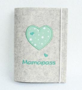 Bestickte Mutterpasshülle Hülle Mutterpass • Herziges Herz türkis • Filz natur