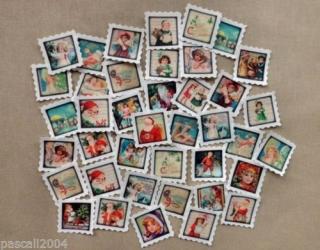 40 Weihnachten Noel Santa Briefmarken Stoffbilder Applikation Aufnäher - 85